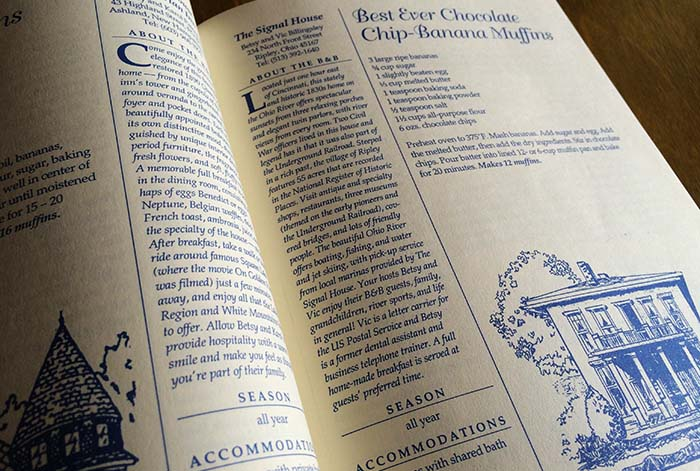 Pages from the Rise & Dine cookbook by Marcy Claman