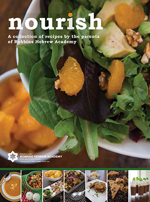 Front cover of Nourish—Client testimonial from Tracy Kowal, cookbook co-chair